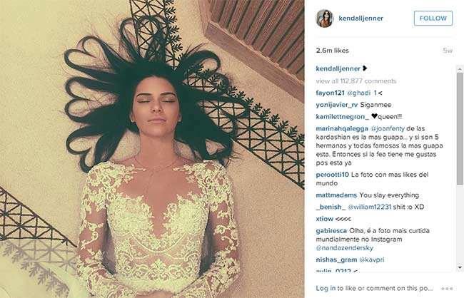 Instagram Tarihinin En Fazla Beğeni Alan Fotoğrafı Kendall Jenner